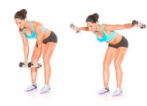 упражнения для спины женщинам в домашних условиях, разведение рук в наклоне, картинка