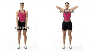 упражнения для спины женщинам в домашних условиях, подъем к подбородку, картинка