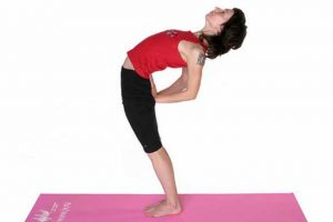 swaying bent back while standing, exercise for the lower back, picture