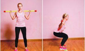 грудной кифоз, упражнения, присядания с гимнастической палкой, картинка
